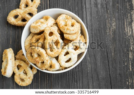 Salty Pretzels with Cheese Freshly Baked, Delicious Salted Snack - stock photo