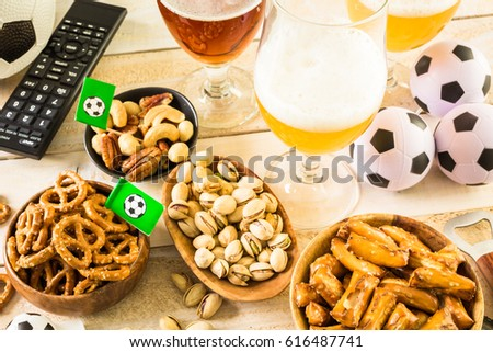 salty snacks beer on table soccer stock photo edit now 616487741