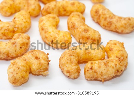 Salty snacks on a white background.