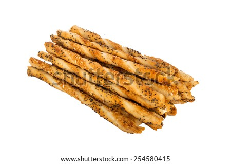 Salty sticks with sesame and poppy seeds isolated - stock photo