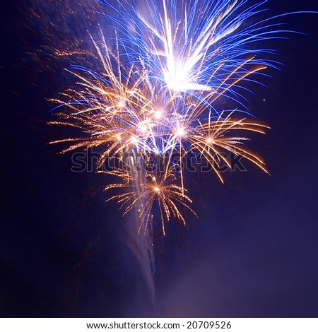 Salute, fireworks above the bay. - stock photo