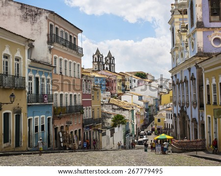 Salvador, Bahia, Brazil - April 2, 2015: View of colorful colonial buildings in the Pelourinho Historic Centre in Salvador, Bahia, Brazil. - stock photo