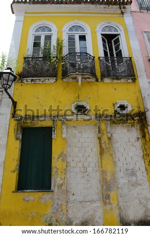SALVADOR, BAHIA, BRAZIL:09 DEC 2013:A traditional colonial facade style at Pelorinho square on 09th Decenber 2013,in Brazil. - stock photo