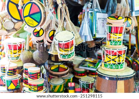 SALVADOR, BRAZIL - CIRCA NOVEMBER 2014: Tamborine product at the Mercado Modelo in Salvador, Bahia. This market is visited by locals and tourists looking for goods and gifts. - stock photo