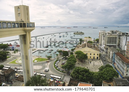 Salvador Brazil city skyline with Lacerda Elevator, Bay of All Saints, and dilapidated old Bahia architecture