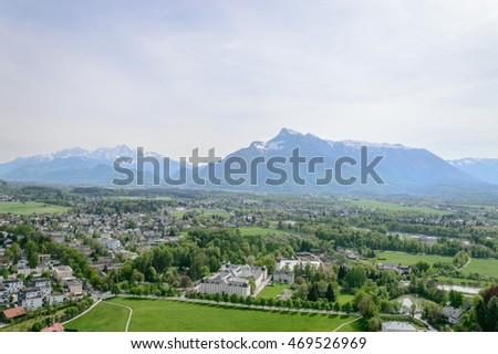 Salzburg, Austria - April 29, 2015:   View from Hohensalzburg Castle. Salzburg is renowned for its baroque architecture and was the birthplace of Mozart. It is an Unesco World Heritage Site.