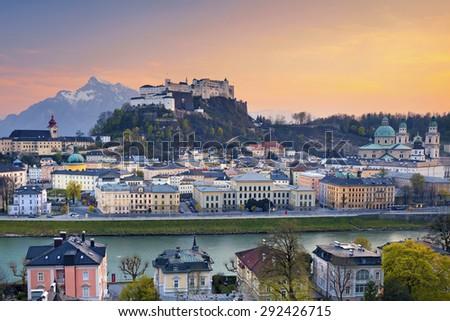 Salzburg, Austria. Image of Salzburg during twilight dramatic sunset. - stock photo