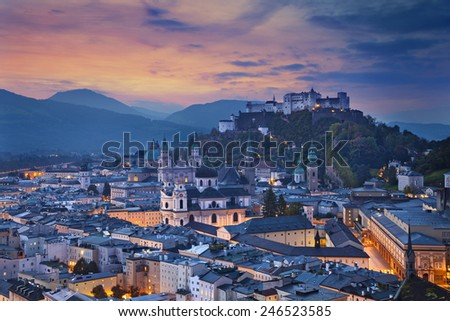 Salzburg, Austria. Image of the Salzburg during autumn sunrise. - stock photo