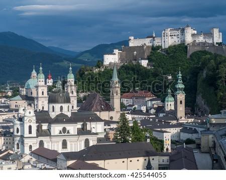 SALZBURG, AUSTRIA, JUNE 27: A view of hill fort Hohensalzburg, Salzburg, 2015 - stock photo