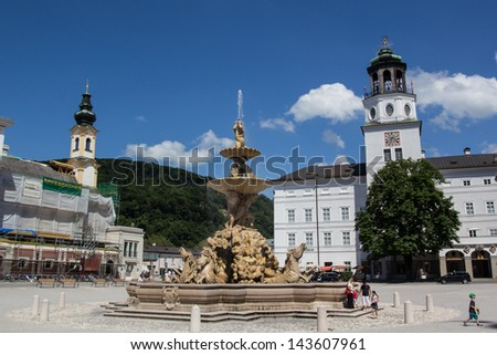SALZBURG,AUSTRIA-JUNE 15: Blue skies greet visitors in Old Town Salzburg on June 15, 2013. Salzburg's Old Town was listed as a UNESCO heritage site in 1997.