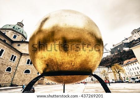 "SALZBURG, AUSTRIA - MARCH 12: Stephan Balkenholâ?²s ""Sphaera"" in Kapitelplatz on March 12, 2016 in Salzburg, Austria - stock photo"