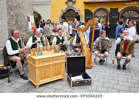 SALZBURG, AUSTRIA - May 05.2012: Performance of chamber classical music on a city street. Free, public, entertainment concert