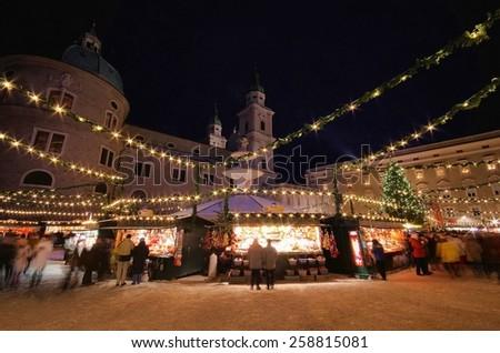 Salzburg christmas market  - stock photo