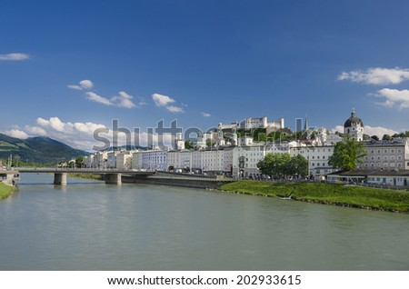 Salzburg City Historic Center Panorama - International festival city for classical music, birthplace of Mozart. Panorama view of Salzburg fortress and the the old town.
