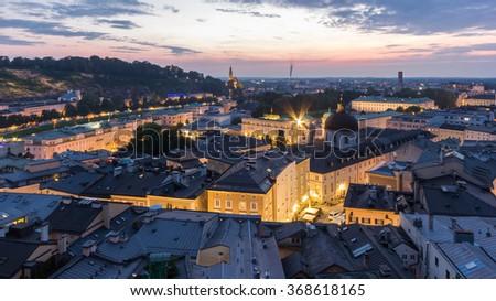 Salzburg City Skyline, Aerial View of Mozart-Wohnhaus, Pfarre Mulln, Salzburger Landestheater, Dreifaltigkeitskirche, Mozarteum University of Salzburg, Hotel Sacher Salzburg, Hotel Bristol, Austria - stock photo