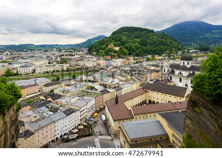 Salzburg Historic center Aerial view over the city. Salzburg, Austria