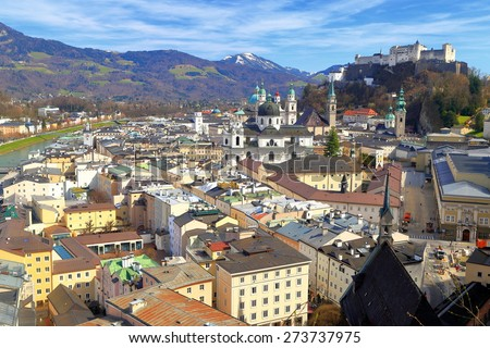 Salzburg old town with medieval castle above old buildings and churches, Austria - stock photo