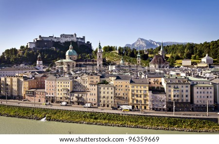 Salzburg's famous Hohensalzburg Fortress and the old town with Alps in the background.