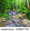 sam lan waterfall in  rainforest asia thailand - stock photo