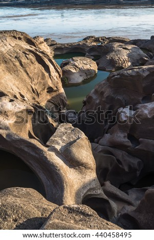 Sam pan bok,Stone in the shape of the Mekong River in Ubonratcha - stock photo