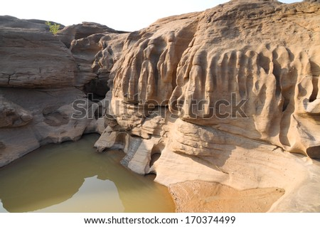 Sam pan bok,Stone in the shape of the natural beauty of the Mekong River in Thailand in Ubonratchathani - stock photo
