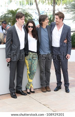 Sam Riley, Kristen Stewart, Walter Salles and Garrett Hedlund at the 'On the Road' photocall during the 65th Cannes Film Festival, Cannes, France. 23/05/2012 Picture by: Henry Harris / Featureflash