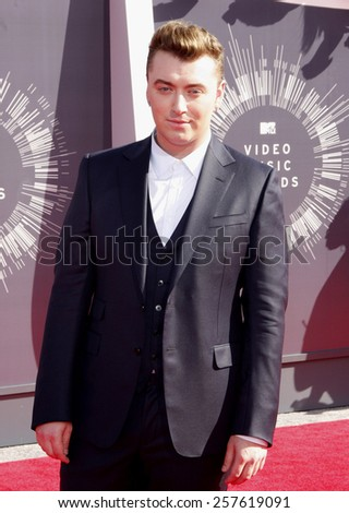 Sam Smith at the 2014 MTV Video Music Awards held at the Forum in Los Angeles on August 24, 2014 in Los Angeles, California.  - stock photo