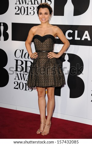 Samantha Barks arrives for the Classic Brit Awards 2013 at the Royal Albert Hall, London. 02/10/2013 - stock photo
