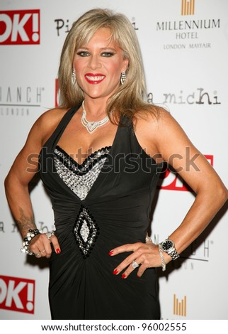 Samantha Fox arriving for the Pia Michi Prom wear fashion show at the Millenium Hotel, London. 15/02/2012 Picture by: Alexandra Glen / Featureflash