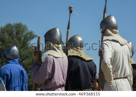 SAMARA REGION, RUSSIA â?? AUGUST 7:  Russian medieval warriors  during international historical festival of medieval culture  â?? 2016 on August 7, 2016 in Samara Region, Russia.