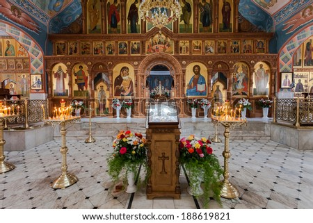 SAMARA, RUSSIA - APRIL 20, 2014: Interior Church of the Resurrection in the Holy Resurrection Monastery. It was founded in 1992