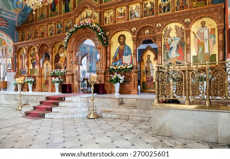 SAMARA, RUSSIA - APRIL 12, 2015: Interior Church of the Resurrection in the Holy Resurrection Monastery. It was founded in 1992 - stock photo