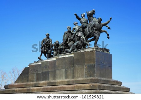 SAMARA, RUSSIA - APRIL 11: Monument of Vasily Chapaev, the Hero of Revolution and Civil War, on April 11, 2010 in Samara, Russia. The monument by Soviet sculptor Matvey Manizer was unveiled on 1932.