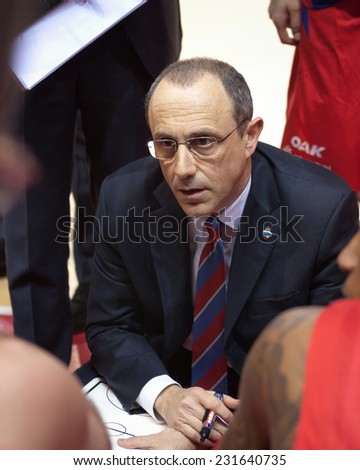 SAMARA, RUSSIA - APRIL 21: Time out. Coach of BC CSKA Ettore Messina says the game plan against BC Krasnye Krylia on April 21, 2013 in Samara, Russia.