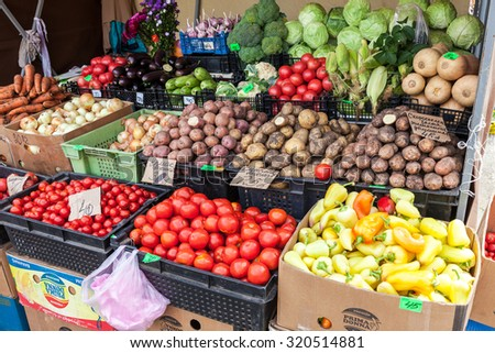 SAMARA, RUSSIA - AUGUST 29, 2015: Fresh vegetables ready to sale at the farmers market