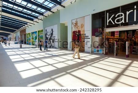 SAMARA, RUSSIA - AUGUST 30, 2014: Inside of the Samara hypermarket Ambar. The one of largest shopping center in Samara, opened in August 2014 - stock photo