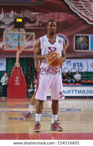 SAMARA, RUSSIA - DECEMBER 17: Aaron Miles of BC Krasnye Krylia gets ready to throw from the free throw line in a game against BC Khimki on December 17, 2012 in Samara, Russia. - stock photo
