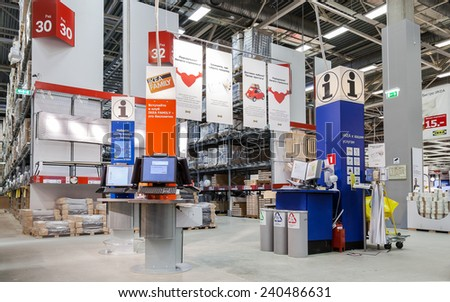 SAMARA, RUSSIA - DECEMBER 27, 2014: IKEA information points at the Ikea store of Samara. IKEA is the world's largest furniture retailer, founded in Sweden in 1943 - stock photo