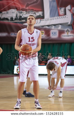 SAMARA, RUSSIA - DECEMBER 05: Nikita Balashov of BC Krasnye Krylia gets ready to throw from the free throw line in a game against BC CSU Asesoft Ploiesti on December 05, 2012 in Samara, Russia.