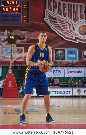 SAMARA, RUSSIA - DECEMBER 17: Paul Davis of BC Khimki gets ready to throw from the free throw line in a game against BC Krasnye Krylia on December 17, 2012 in Samara, Russia. - stock photo