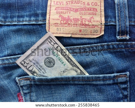 Samara, Russia - February 25, 2015: Levi Strauss & Co jeans company in the back pocket $ 50 - stock photo