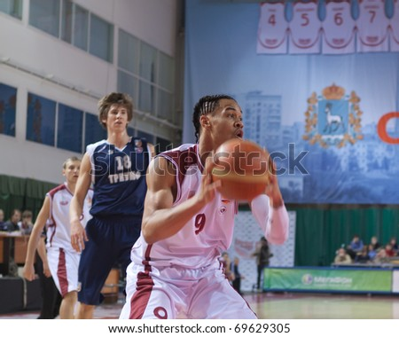 SAMARA, RUSSIA - JANUARY 22: Gerald Green of BC Krasnye Krylia with ball attacking BC Triumph January 22, 2011 in Samara, Russia.