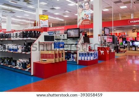 SAMARA, RUSSIA - MARCH 8, 2016: Interior of the electronics shop M-Video. Is the largest Russian consumer electronic retail chain - stock photo