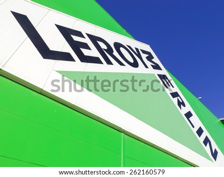 SAMARA, RUSSIA - MARCH 14, 2015: Leroy Merlin brand sign against blue sky. Leroy Merlin is a French home-improvement and gardening retailer serving thirteen countries - stock photo