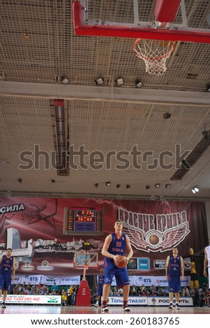 SAMARA, RUSSIA - MAY 20: Andrey Vorontsevich of BC CSKA gets ready to throw from the free throw line in a game against BC Krasnye Krylia on May 20, 2013 in Samara, Russia. - stock photo
