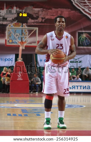 SAMARA, RUSSIA - MAY 20: DeJuan Collins of BC Krasnye Krylia gets ready to throw from the free throw line in a game against BC CSKA on May 20, 2013 in Samara, Russia. - stock photo