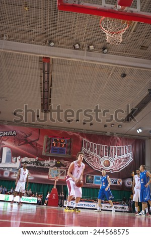 SAMARA, RUSSIA - MAY 11: Dmitry Kulagin of BC Krasnye Krylia gets ready to throw from the free throw line in a game against BC Enisey on May 11, 2013 in Samara, Russia.