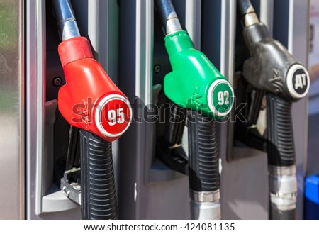 SAMARA, RUSSIA - MAY 14, 2016: Filling the column with different fuels at the gas station Olvi. Olvi is one of the russian gas station in Samara region
