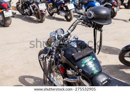 SAMARA, RUSSIA - MAY 2, 2015: Motorcycle helmet on the motobike during the traditional annual gathering of bikers - stock photo