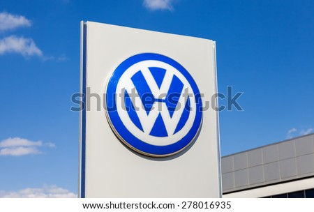 SAMARA, RUSSIA - MAY 11, 2015: Official dealership sign of Volkswagen.  Volkswagen is the biggest German automaker and the third largest automaker in the world - stock photo